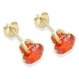 9ct Gold Orange Cubic Zirconia Stud Earrings - 6mm