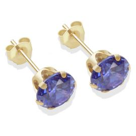 9ct Gold Tanzanite Coloured CZ Stud Earrings - 6mm