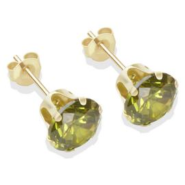 9ct Gold Dark Peridot Coloured CZ Stud Earrings - 7mm