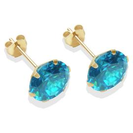 9ct Gold London Blue Cubic Zirconia Stud Earrings - 8mm