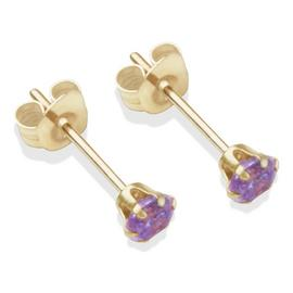 9ct Gold Amethyst Coloured CZ Stud Earrings - 3mm