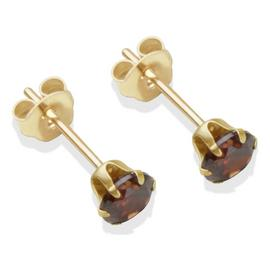 9ct Gold Brown Cubic Zirconia Stud Earrings - 4mm