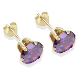9ct Gold Amethyst Coloured CZ Stud Earrings - 7mm