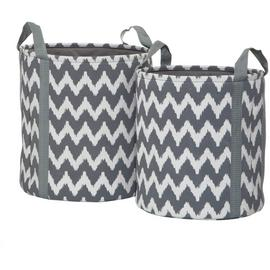 Premier Housewares Chevron Storage Baskets - Grey.