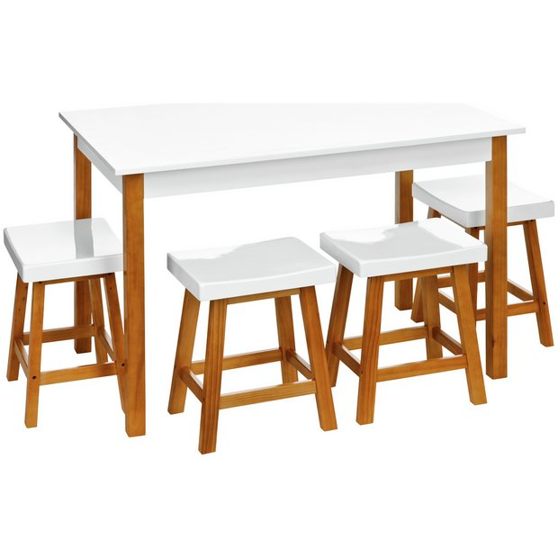 Buy Premier Housewares Pine Dining Set With 4 Stools White At