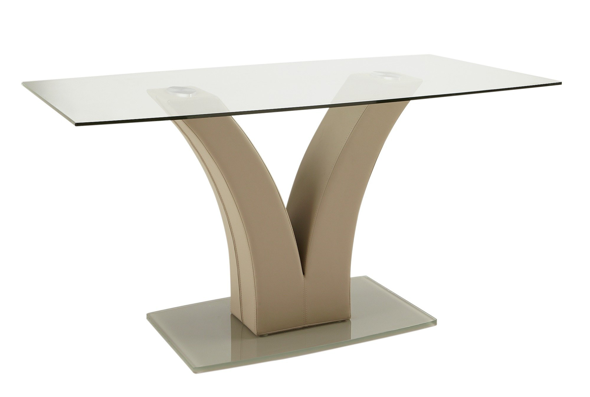 collection oriana glass 6 seater pedestal table