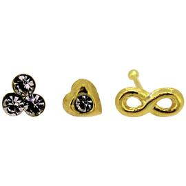 Link Up 9ct Gold Infinity Heart Flower Nose Stud - Set of 3.