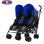 more details on Obaby Apollo Black/ Grey Twin Pushchair - Blue.