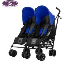 Obaby Apollo Black/ Grey Twin Pushchair - Blue