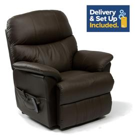 Lars Riser Recliner Dual Motor Leather Chair - Dark Brown.