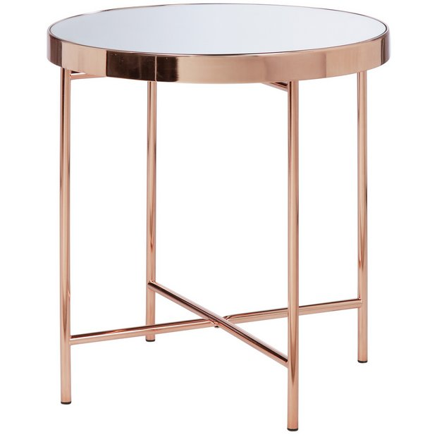 Buy collection round glass top side table copper plated - Glass side tables for living room uk ...