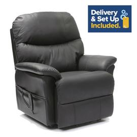 Lars Riser Recliner Dual Motor Leather Chair - Black.