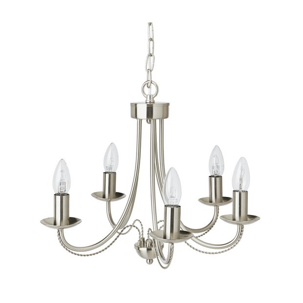 Argos Home Twirl 5 Light Twist Chandelier Brushed Chrome Ceiling And Wall Lights