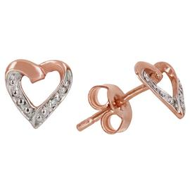 Revere 9ct Rose Gold Diamond Accent Heart Stud Earrings