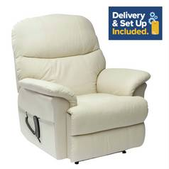 Lars Riser Recliner Leather Chair with Dual Motor - Cream