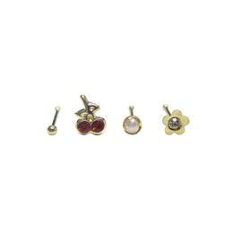 Link Up 9ct Gold Pearl and Crystal Nose Studs - Set of 4.