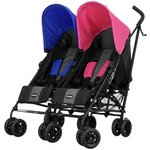more details on Obaby Apollo Black/ Grey Twin Pushchair - Pink & Blue.
