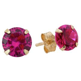 Revere 9ct Yellow Gold Created Ruby July Stud Earrings