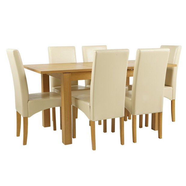 Buy collection swanbourne oak veneer ext table 6 chairs cream at your online - Types veneers used home furniture ...