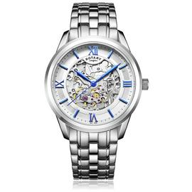 Rotary Men's Silver Stainless Steel Bracelet Skeleton Watch