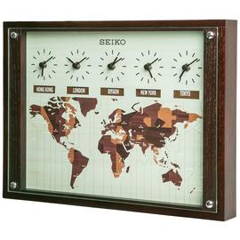 Seiko Wooden World Time Wall Clock.