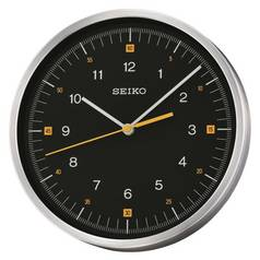 Seiko Round Aluminium Clock with Black Dial