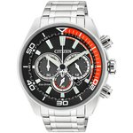 more details on Citizen Men's Eco Drive Orange and Black Chronograph Watch.
