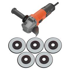 BLACK+DECKER KG115A5-GB Small Angle Grinder with 5 Cutting Discs, 750 W, 115 mm - Black/Orange