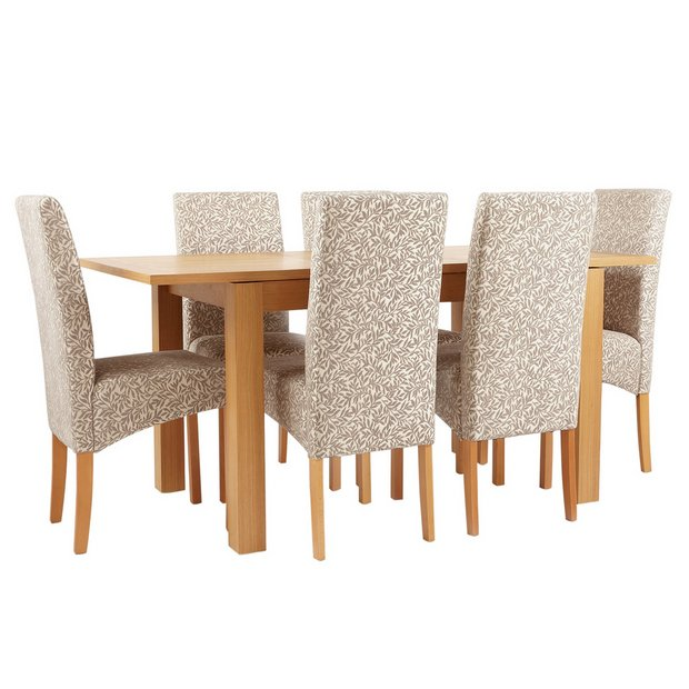 Buy Collection Swanbourne Oak Veneer Ext Table 6 Chairs Floral At Argos