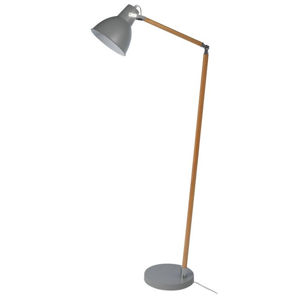 Buy collection twyford wood metal floor lamp grey at for Argos wood floor lamp