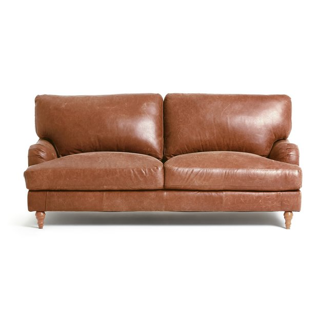 Buy heart of house livingston 3 seater leather sofa tan at your online shop for Buy home furniture online uk