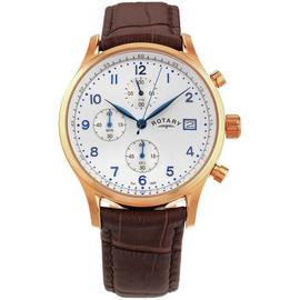 Rotary Men's Brown Leather Strap Rose Gold Plated Watch