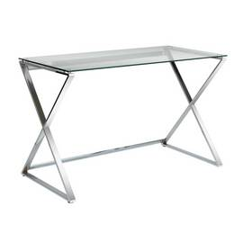 Argos Home Cortez Glass Office Desk - Silver