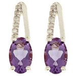 more details on 9ct White Gold Diamond Accent Amethyst Studs.