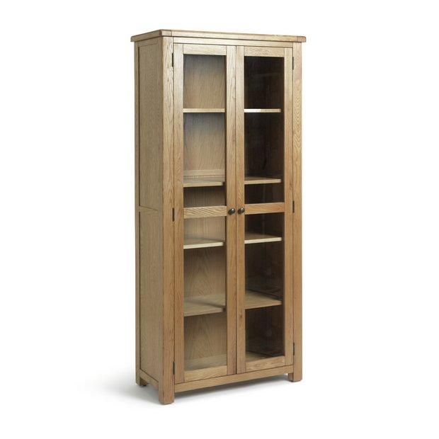 buy heart of house kent oak oak veneer display cabinet. Black Bedroom Furniture Sets. Home Design Ideas