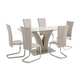Argos Home Oriana Glass Dining Table & 6 Beige Chairs
