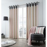 Fusion Rydell Stripe Eyelet Curtains - 229x229cm - Blush