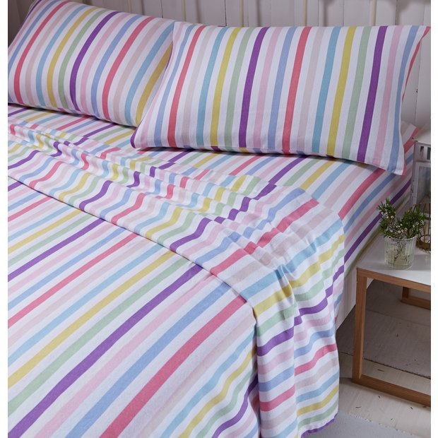 buy catherine lansfield multi brushed stripe sheet set. Black Bedroom Furniture Sets. Home Design Ideas