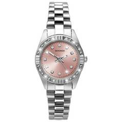Sekonda Ladies' Pink Sunray Dial Stone Set Watch