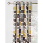 more details on HOME Pebbles Unlined Eyelet Curtains -117x183cm- Grey/Yellow