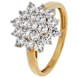 Revere 9ct Yellow Gold Cubic Zirconia Round Cluster Ring