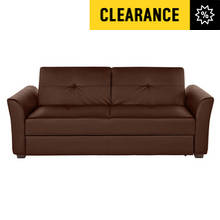 Lorenzo 3 Seat Leather Effect Sofa Bed with Storage - Brown