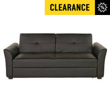 Lorenzo 3 Seater Leather Effect Sofa Bed with Storage - Blk