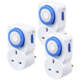 Masterplug 24 Hour Mechanical Segment Timer - 3 Pack