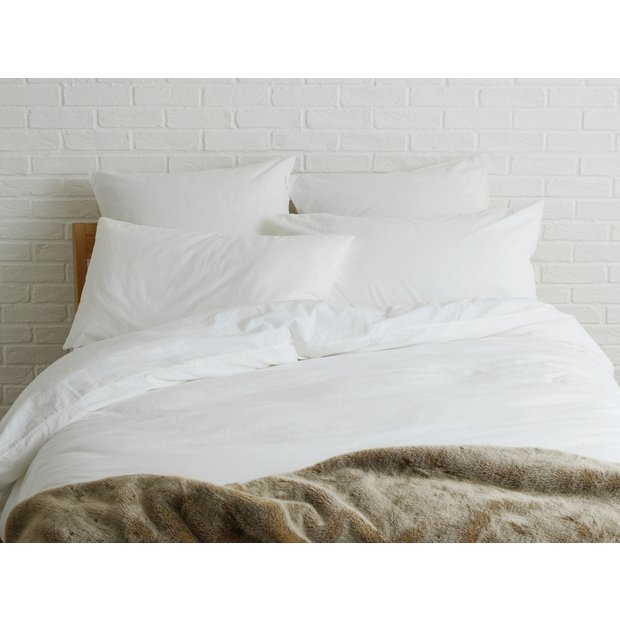 buy habitat washed double duvet cover white at. Black Bedroom Furniture Sets. Home Design Ideas
