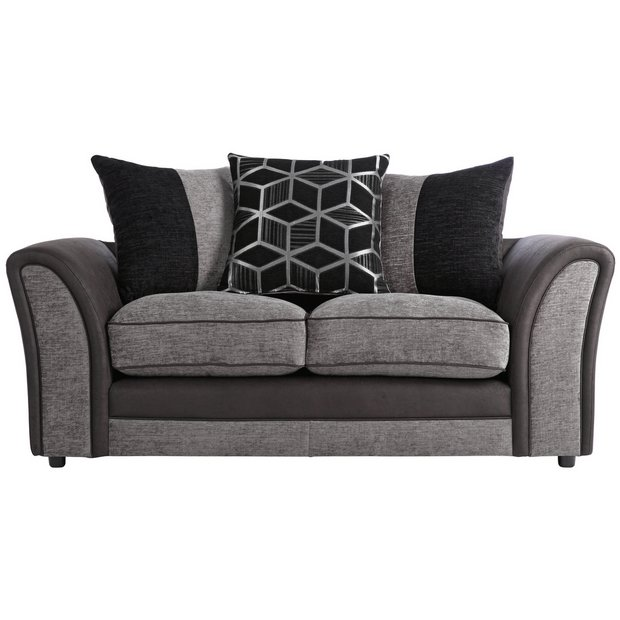Buy Collection Rhiannon 2 Seat Fabric Leather Eff Sofa Black At Your Online