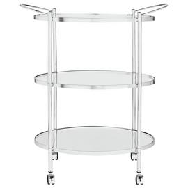 Argos Home 3 Tier Chrome and Glass Drinks Trolley