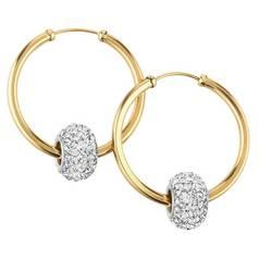 5736abf85 Revere 9ct Gold Crystal Glitter Slider Hoop Earrings