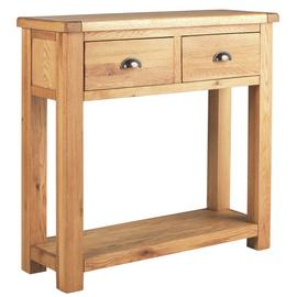 Argos Home Kent Oak & Oak Veneer 2 Drawer Console Table