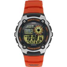 Casio Men's World Time Digital Orange Resin Strap Watch